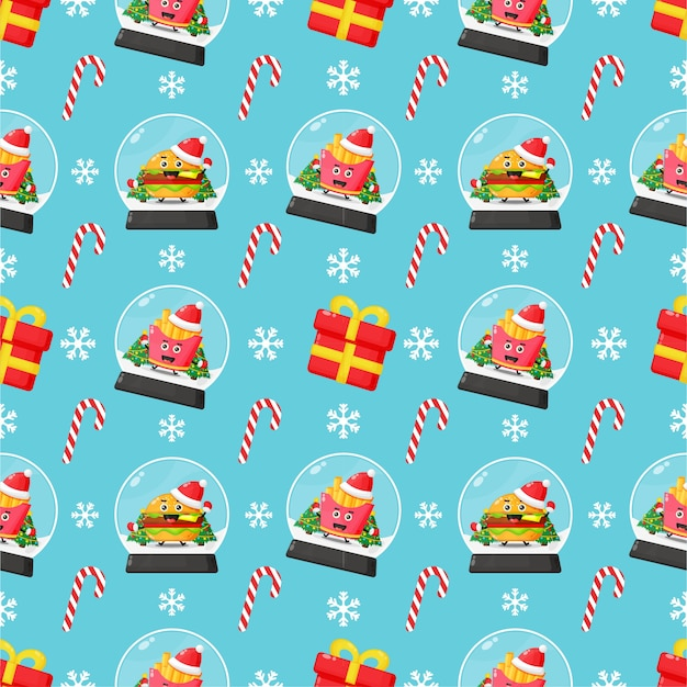 かわいいファーストフードのマスコットとクリスマスをテーマにしたシームレスパターン