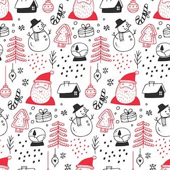 Christmas themed seamless pattern