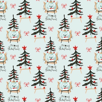 Christmas themed seamless pattern