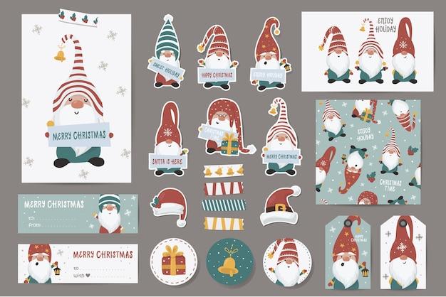 Рождественские тематические наклейки Premium векторы