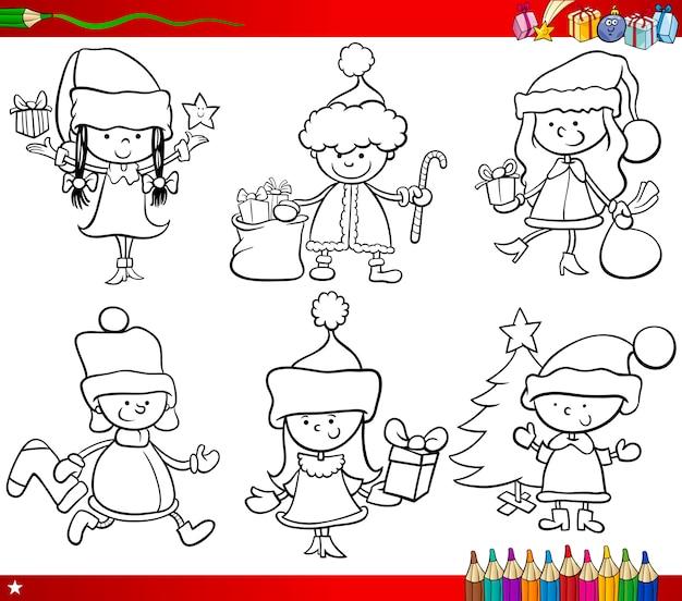 クリスマスのテーマの子供たちのページを着色