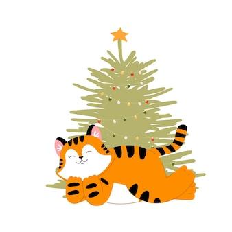 Рождественский тигр и елка новый год милый кот фондовый плоский мультфильм иллюстрация на белом фоне