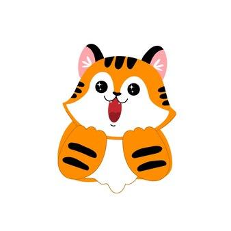 Рождественский тигр новогодний кот радостный мультяшный животное удивляет и радует полосатого котенка s