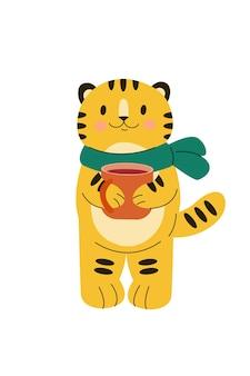 Christmas tiger new year cat with cap of coffee tea cocoa joyful cartoon animal