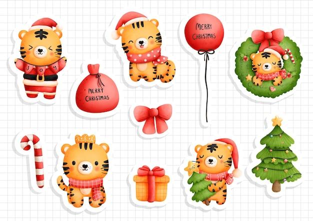 Наклейка рождественский тигр, наклейка год тигра 2022