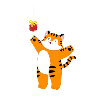 Рождественский тигр тигр играет как кошка новый год симпатичные мультяшные животные акции плоская иллюстрация