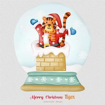 クリスマスタイガー水彩イラスト、紙の背景。デザイン、プリント、ファブリック、または背景用。クリスマス要素ベクトル。