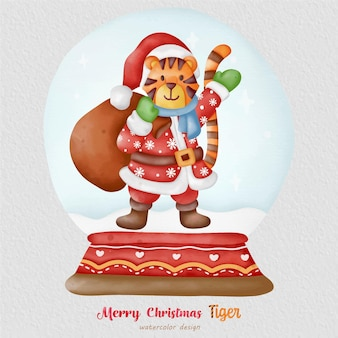 Christmas tiger watercolor illustration, with a paper background. for design, prints, fabric, or background. christmas element vector.