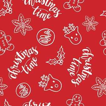 Christmas time doodle seamless pattern