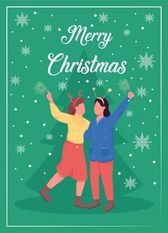 クリスマスの時間グリーティングカードフラットテンプレート。友達と新年。ホリデーシーズン。パンフレット、小冊子1ページのコンセプトデザインと漫画のキャラクター。冬休みのお祝いチラシ、リーフレット
