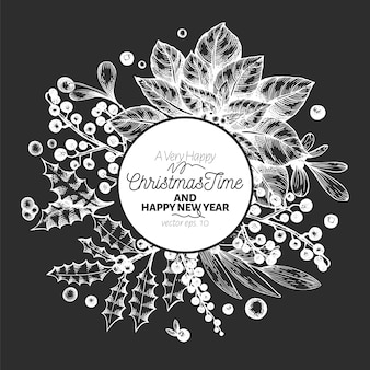 Christmas time hand drawn greeting card template.
