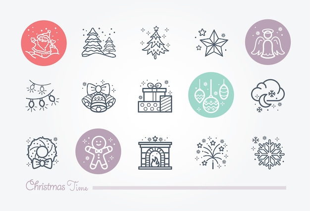 Christmas time icon collection