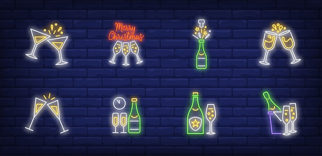 Christmas toast symbols set in neon style