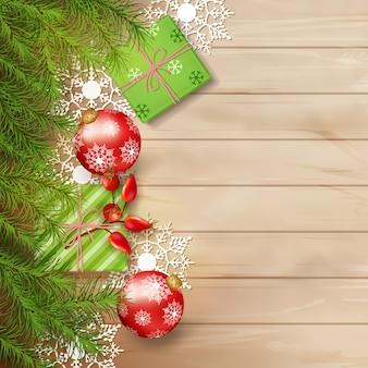 Рождественский вид сверху фон с еловыми ветками