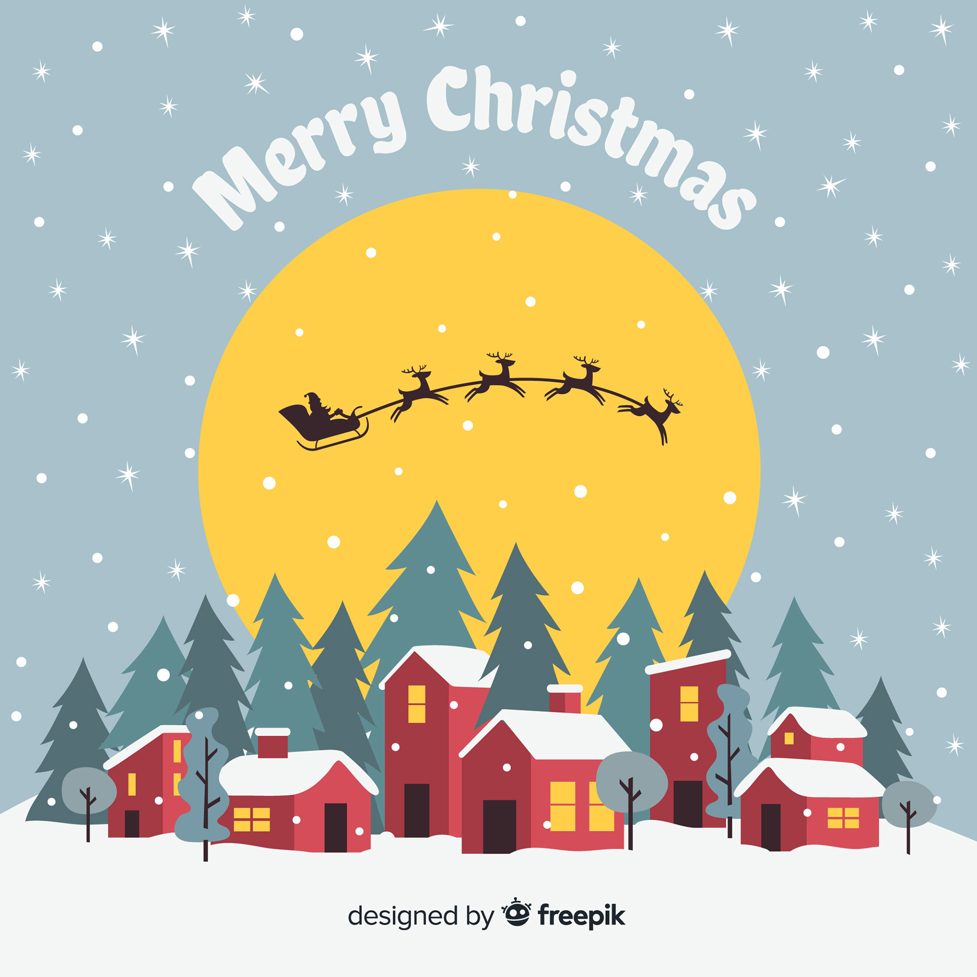 Christmas town background in flat design