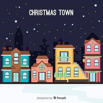 평면 디자인의 크리스마스 도시 배경