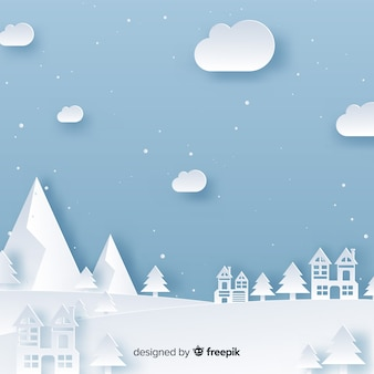 Christmas town background papercut effect