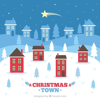 Christmas town background with a falling star