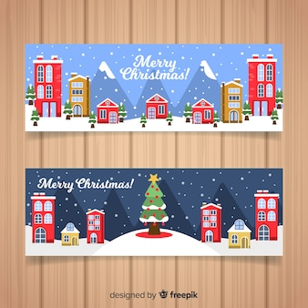 Christmas town banner collection in flat design