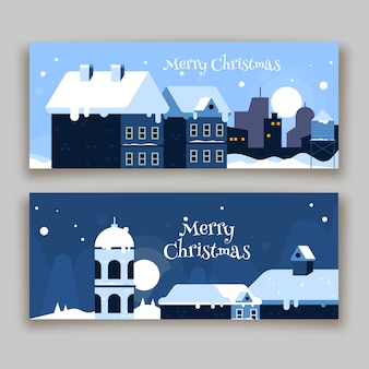 Christmas town banner collection