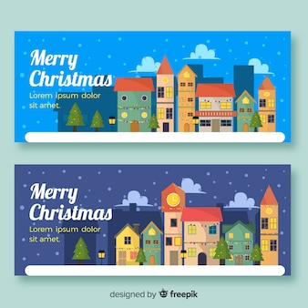 Christmas town banners in flat style