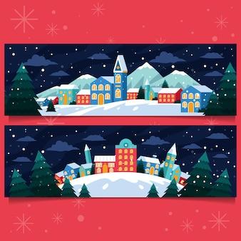 フラットなデザインのクリスマスの町のバナー
