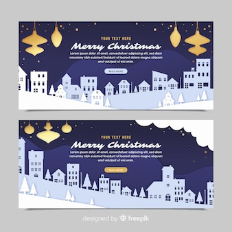 Christmas town banners in paper style