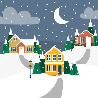 Christmas town concept in flat design