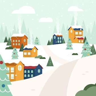 Christmas town concept in hand drawn
