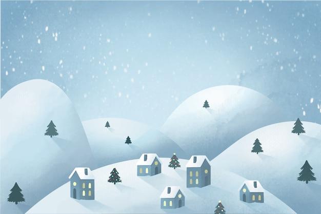 Рождественская концепция города в акварели