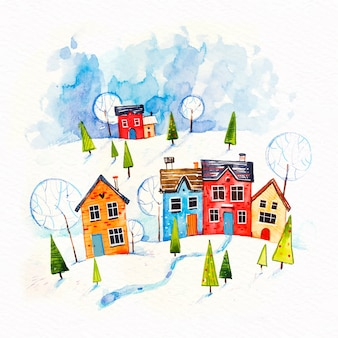 Christmas town concept in watercolor