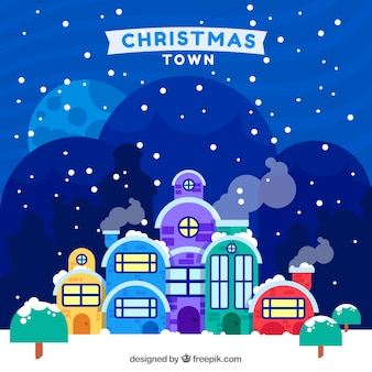 Christmas town covered in snow