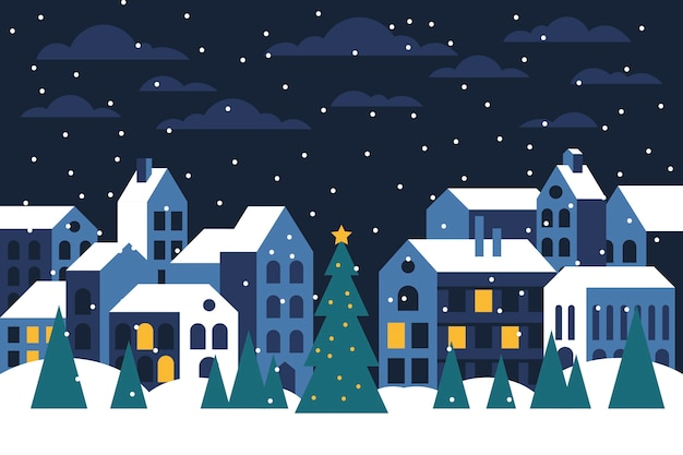 Christmas town flat design wallpaper