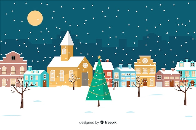 Christmas town in flat design