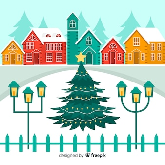 Christmas town flat illustration