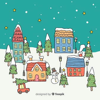 Christmas town in hand drawn design