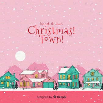 Christmas town in hand drawn style