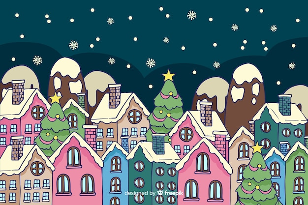 Christmas town in hand drawn