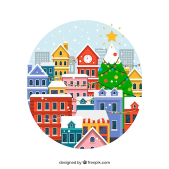 Christmas town in a round frame