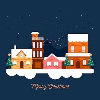 フラットなデザインのクリスマスの町
