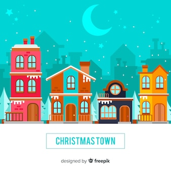 Christmas town in flat style