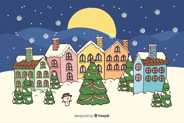 Рождественский городок в рисованной