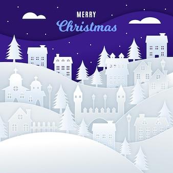 Рождественский городок в бумажном стиле