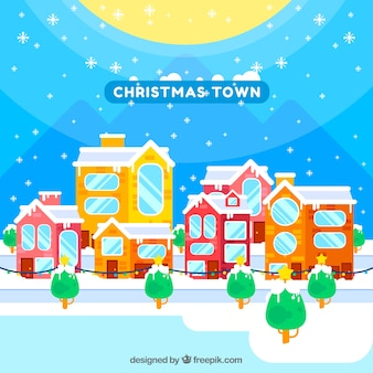 Christmas town on a sunny day