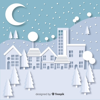 Christmas town in paper style background