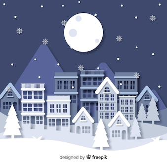 Christmas town in paper style wallpaper