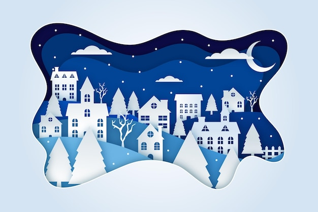 Christmas town in paper style