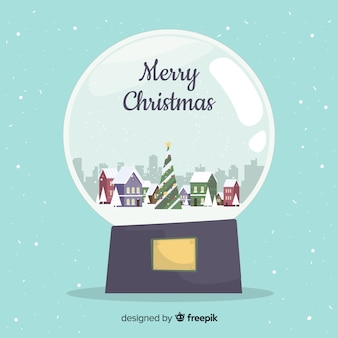 Christmas town in a snow globe background in flat design