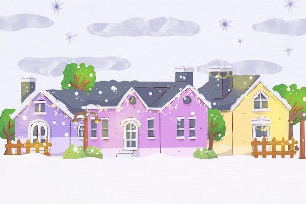 Рождественский городок акварельные иллюстрации