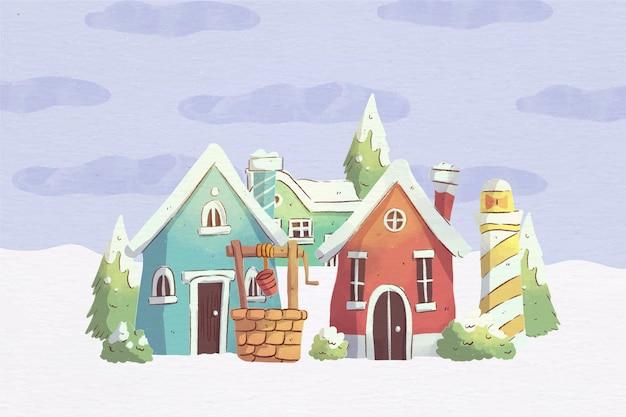 クリスマスの町の水彩イラスト